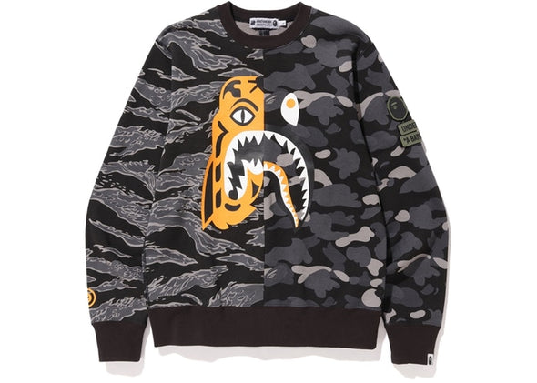 UNDEFEATED X BAPE TIGER SHARK HALF CREWNECK