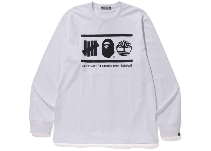 BAPE X UNDEFEATED LONG SLEEVE ''WHITE''