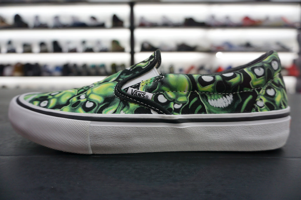 "VANS SLIP-ON SUPREME SKULL PILE ""GREEN"" ***USED/中古***"