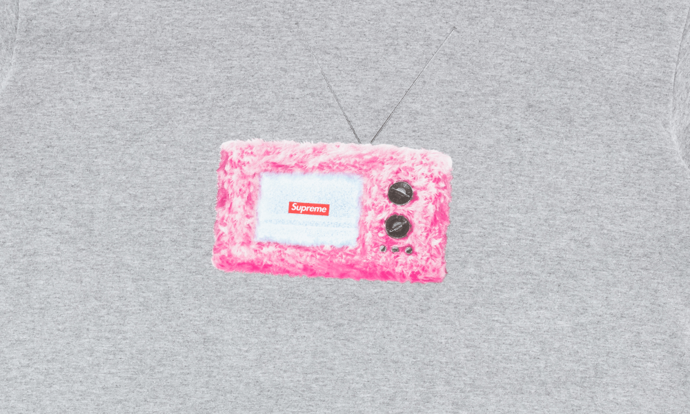 "SUPREME TV TEE ""GREY"""