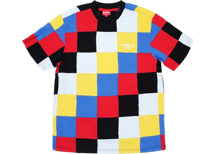 "SUPREME PATCHWORK PIQUE TEE ""RED/YELLOW/BLUE"""