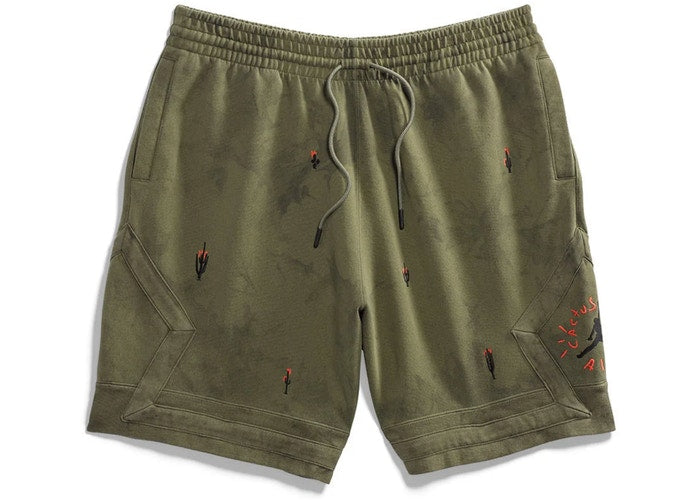 TRAVIS SCOTT X JORDAN WASHED SUEDE SHORTS 'OLIVE'