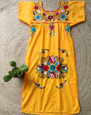 Mexican Dress for Women in Yellow