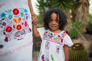 Mexican dresses for Girls - Mexican flower dresses- Girls dresses- Toddler dresses- Boho girls dress-Bella Bonita