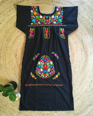 Mexican Dress for Women in Black