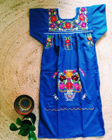 Mexican Dress for Women in Dark Blue