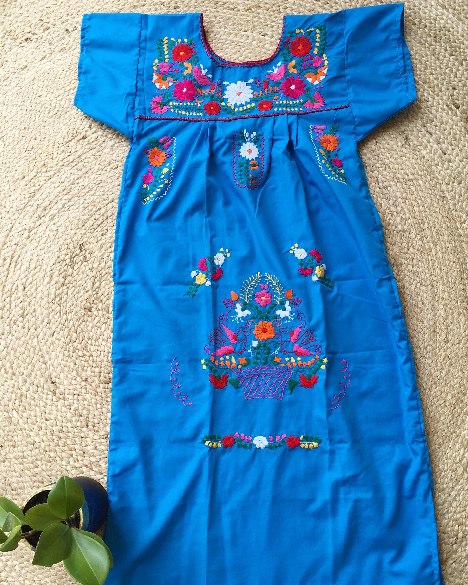 Mexican Dress for Women in Teal Blue