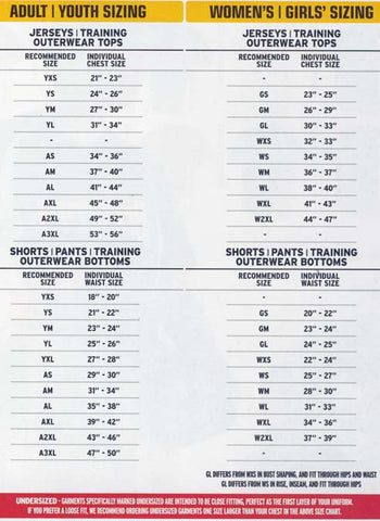 High Five Sportswear sizing charts
