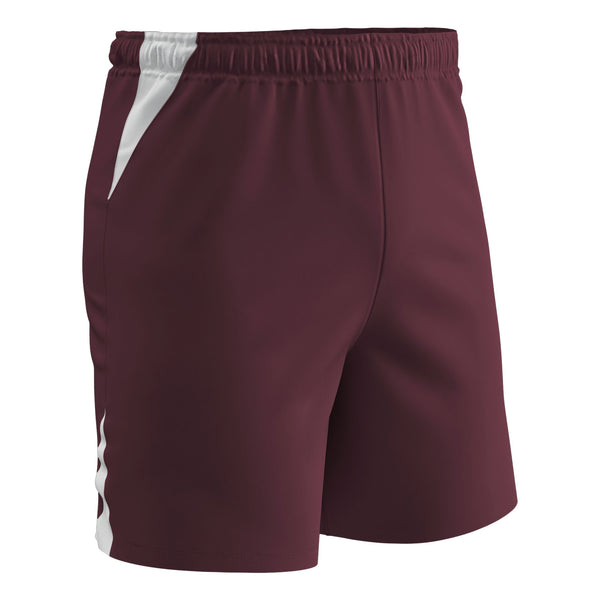 Champro Soccer Short; M; Maroon, White; Adult: SS6