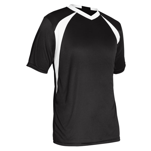 Champro Sweeper Soccer Jersey; XS; Black,White; Youth: SJ30