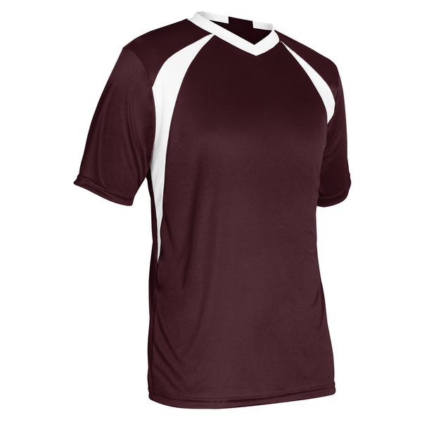 Champro Sweeper Soccer Jersey; M; Maroon,White; Adult: SJ30