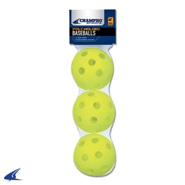 Champro 3 Pack - White Poly Softballs: CSB-51B