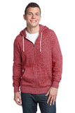 District - Young Mens Marled Fleece Full-Zip Hoodie DT192