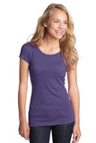 CLOSEOUT District - Juniors Textured Girly Crew Tee. DT270