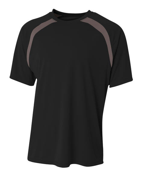 A4 Spartan Short Sleeve Color Block Crew; MENS