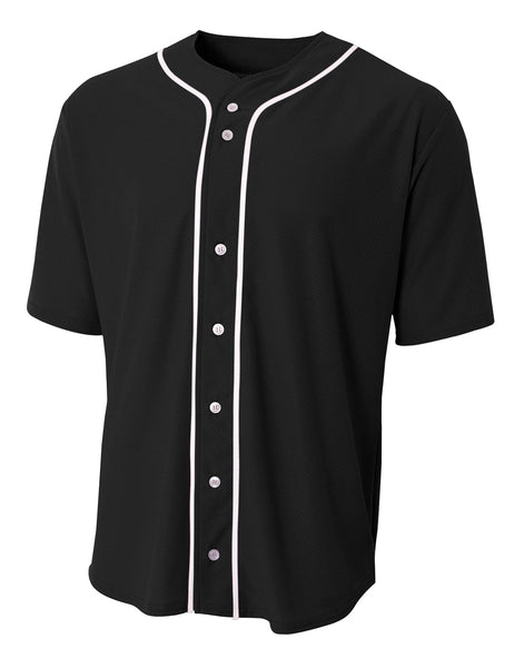 A4 Short Sleeve Full Button Baseball Jersey; boys/ youth
