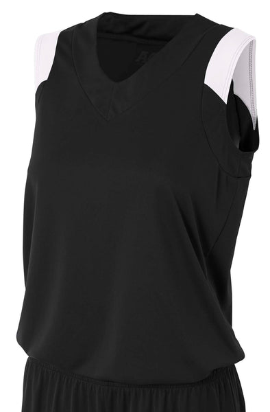 A4 Moisture Management V-Neck Muscle; WOMENS