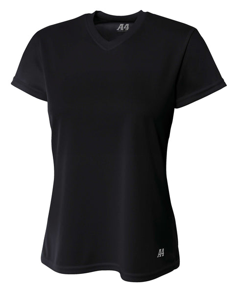 A4 Short Sleeve V-Neck Bird's Eye Mesh Tee; WOMENS