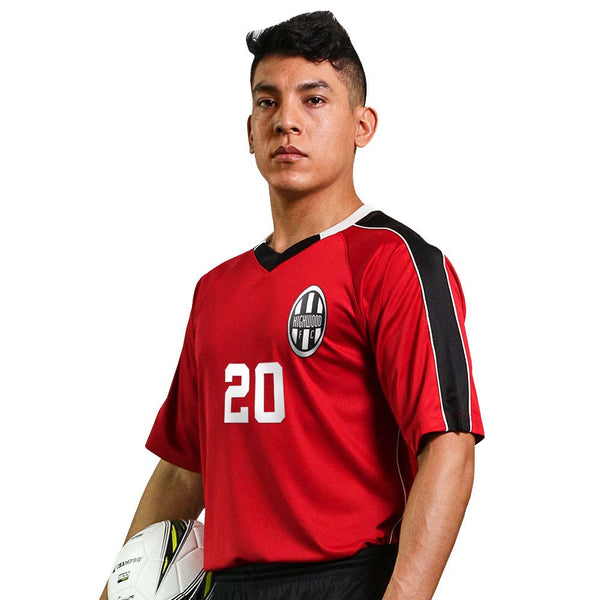 Champro MARK Soccer Jersey; L; Scarlet,Black,White; Youth: SJ20