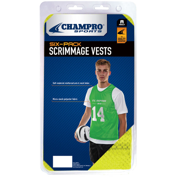 Champro Scrimmage Micro Mesh Soccer Pinnie 6 Pack; XL; Neon Orange; Adult: SOCV6