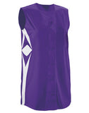 Teamwork Girl's Supernova Sleeveless Faux Full Button Down Jersey   style 1808B