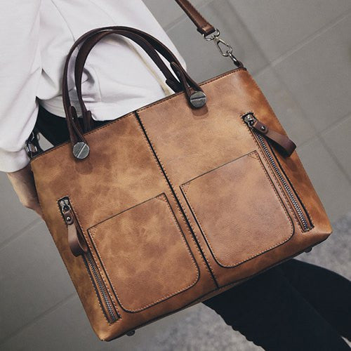 Multi Zips PU Leather Tote Handbag