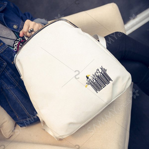 Kiss Lock Closure Canvas Embroidery Backpack