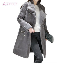 APOENG winter women padded jackets long lamb coats thicker warm clothes lambswool parkas silm cotton women button coat LZ418