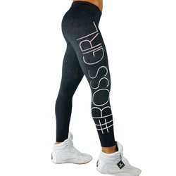Skinny High Waist Leggings Letter Printed Women Boss Girl Leggings Sportswear Stretchable Pants Fitness Feminino