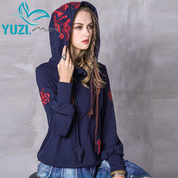 Women Hoodies 2017 Yuzi.may Casual New Cotton Sweatshirt Long Sleeve Floral Embroidery Skin Friendly Loose Hoodie B9207 Shirts
