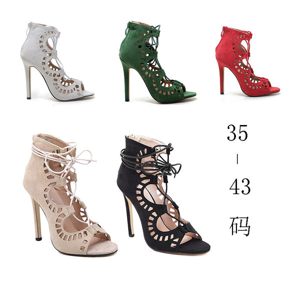 Gladiator High Heels Sexy Open Toe Cut Outs Women Shoes