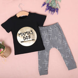 Mamas Boys Golden Letter Printed Top + Pants Set - Theitkidsboutique