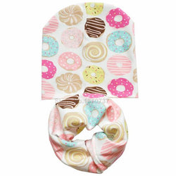 2pcs - Tasty Donuts Hat And Scarf Set