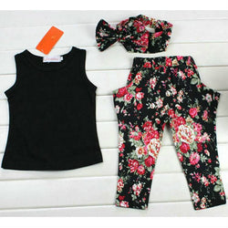 Black  T-Shirt + Floral Pants + Floral Headband Set - Theitkidsboutique