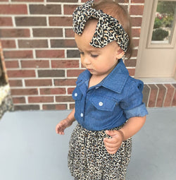 3pcs Sets - Denim Top + Cheetah Print Skirt + Headband Set