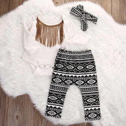 Long Sleeve Romper +Pants +Headband - Theitkidsboutique