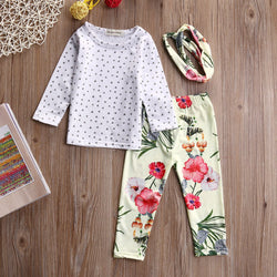 Long Sleeve Top+Floral Pants+Headband Set - Theitkidsboutique