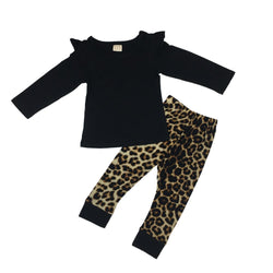 Baby Girl Long Sleeve Black T-shirt+Cheetah Print Pants Infant Set - Theitkidsboutique