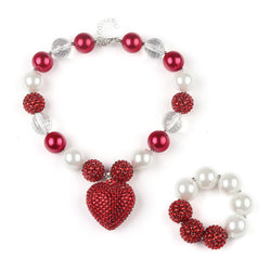Red & White Chunky Bead Necklace + Bracelet Set - Theitkidsboutique