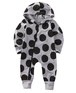 Dot Print Zip-Up Onesie - Theitkidsboutique