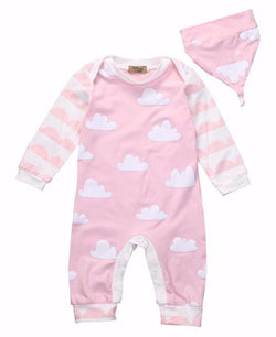 Pink and White Clouds Romper + Hat Set - Theitkidsboutique