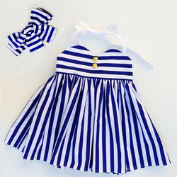 Summer Striped Dress + Headband Set - Theitkidsboutique