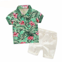 Boys Floral Polo Top + Shorts Set - Theitkidsboutique