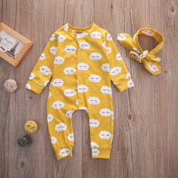 Newborn Baby Shy Clouds Romper Jumpsuit + Headband Set - Theitkidsboutique
