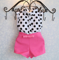 Baby Girl  Polka Dot Top + Pink shorts - Theitkidsboutique