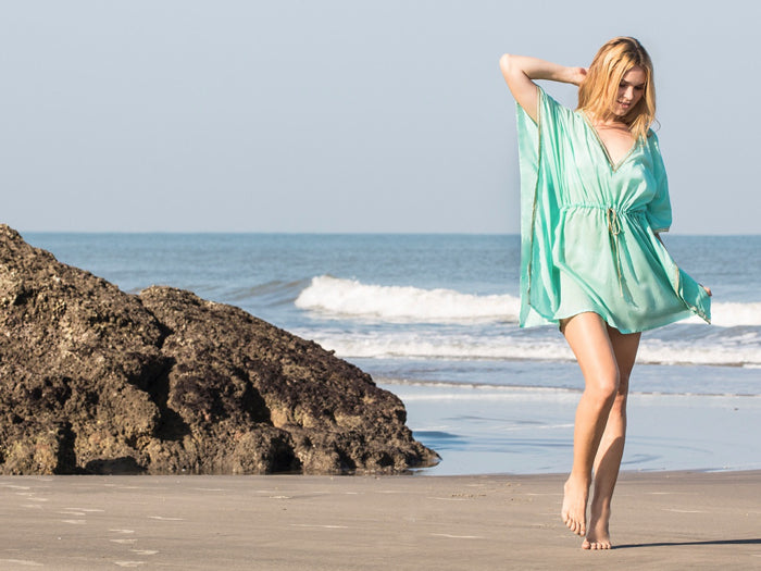 Henna Sipari - Lookbook - Turquoise Drawstring Kaftan - Resortwear