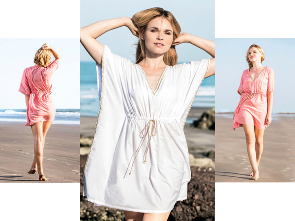 Henna Sipari - Lookbook - Drawstring White Kaftan - Resortwear