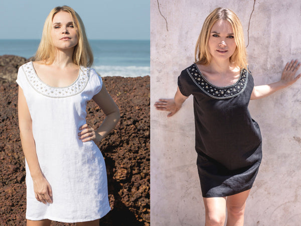 Henna Sipari - Lookbook - Linen Embroidered Mini Dress - Resortwear