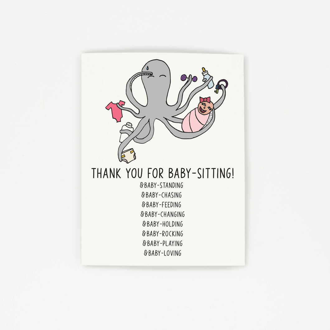 Babysitting - Thank You Greeting Card for Babysitter