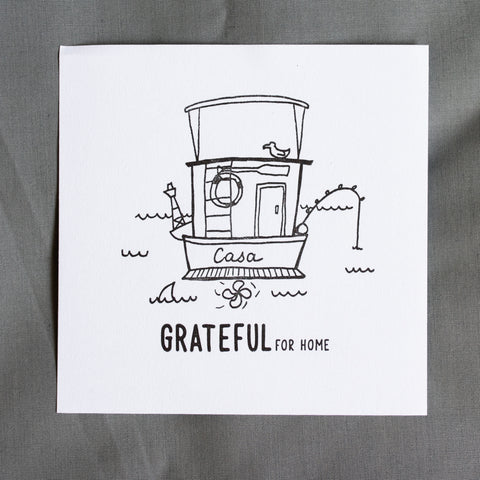 Grateful For Home Letterpress Print - The Boat